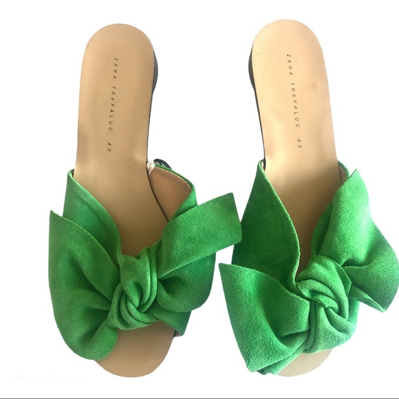 Zara Green Bow Suede Leather  Sandals